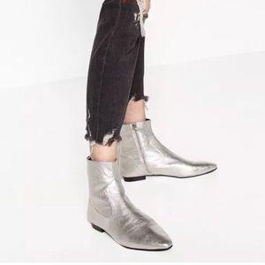 Zara Silver Booties Flat Heel BNIB